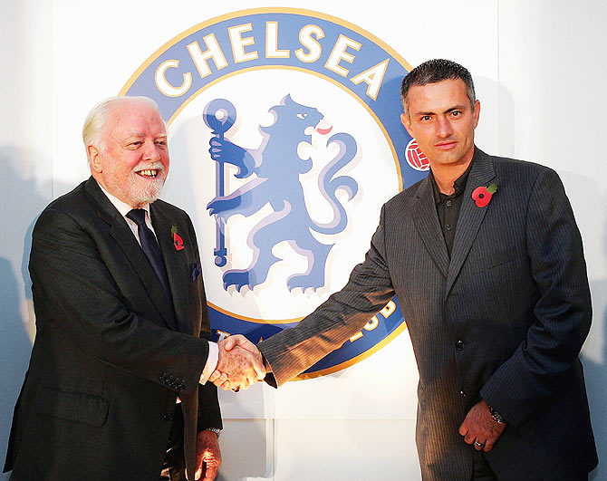 Lifelong Chelsea supporter Lord Attenborough and with club manager Jose Mourinho at Stamford Bridge on November 12, 2004