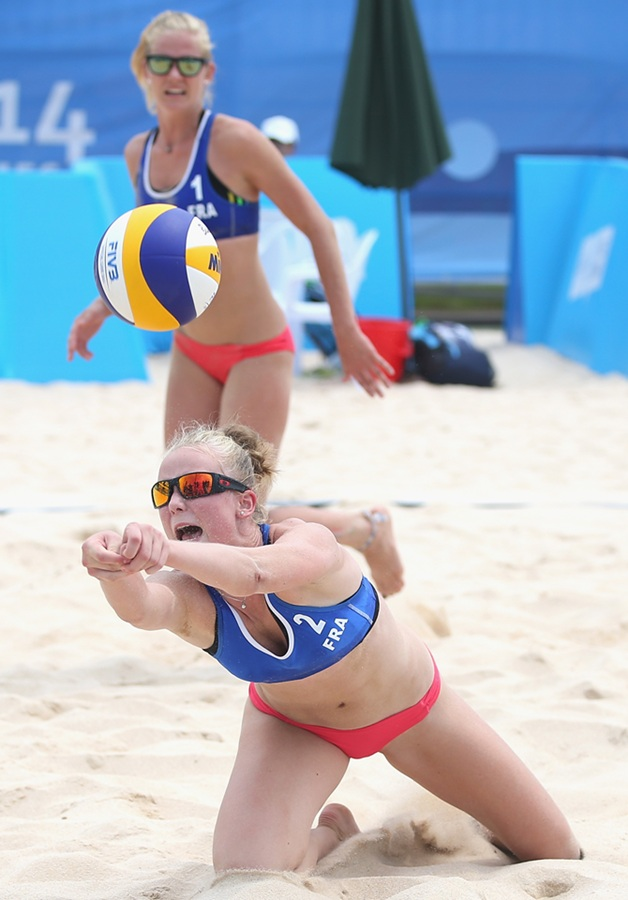 Action from Youth Olympic Beach Volleyball