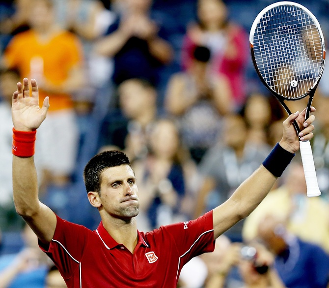 Novak Djokovic of Serbia reacts after defeating Diego Schwartzman of Argentina