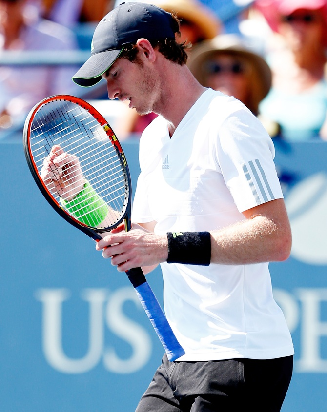 Andy Murray of Great Britain reacts against Robin Haase of the Netherlands