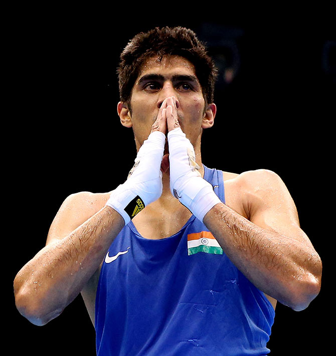 Rediff Sports - Cricket, Indian hockey, Tennis, Football, Chess, Golf - Vijender calls on the country to pray for Rio-bound athletes