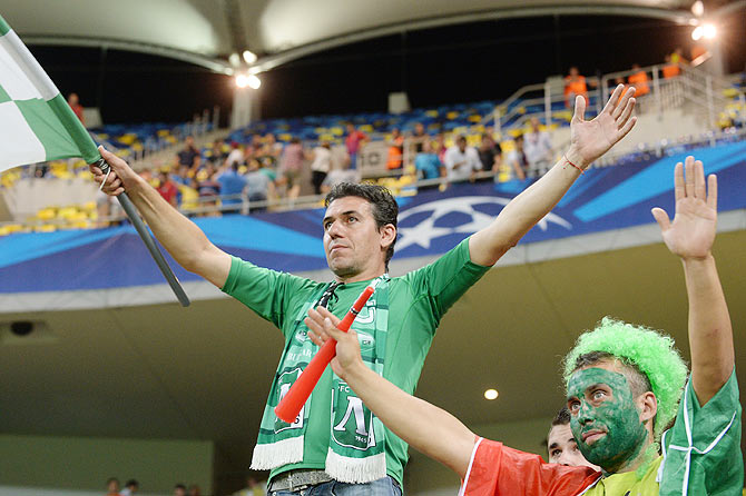 Supporters of PFC Ludogorets during the UEFA Champions League first leg play-off match against between FC Steaua Bucuresti and PFC Ludogorets Razgrad on August 19, 2014 in Bucharest,Romania