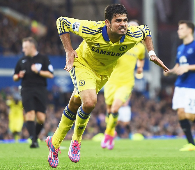Diego Costa of Chelsea celebrates