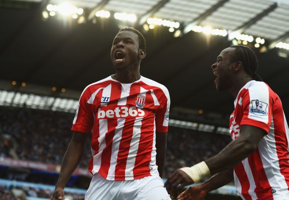 Mame Biram Diouf, left, of Stoke City celebrates