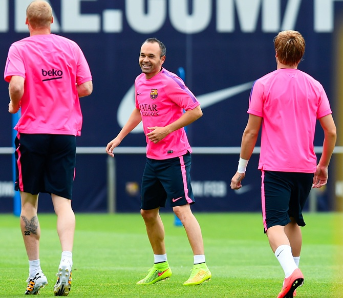 Andres Iniesta during a training session