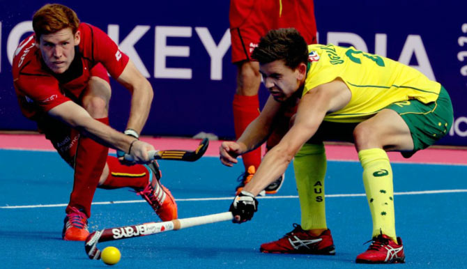 Australia and Belgium players in action