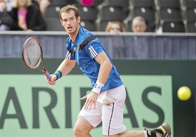 Andy Murray (GBR) in action against Sam Querrey (USA) in the USA vs GBR Davis Cup tie at Petco Park, San Diego, on Sunday