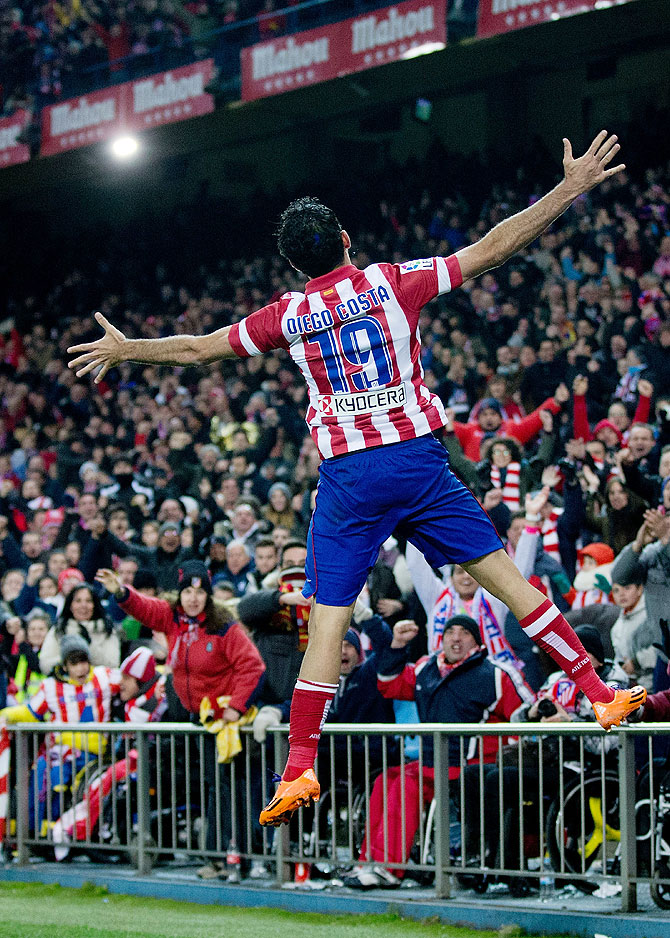 Diego Costa of Atletico de Madrid celebrates scoring against Real Sociedad during their La Liga match at Vicente Calderon Stadium in Madrid on Sunday
