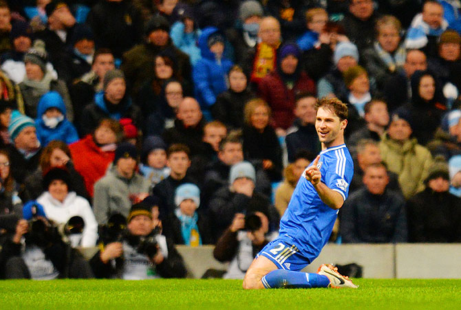 Branislav Ivanovic of Chelsea celebrates after scoring against Manchester City during their English Premier League match at Etihad Stadium in Manchester on Monday