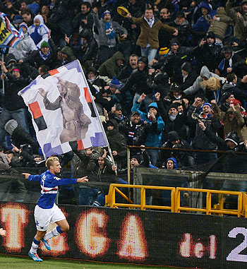 Maxi Lopez of Sampdoria celebrates after scoring the opening goal during the Serie A match between Genoa and Sampdoria at Stadio Luigi Ferraris in Genoa on Monday