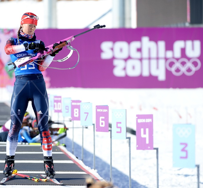 Amanda Lightfoot of Great Britain shoots during a Biathlon training session ahead of the Sochi 2014 Winter Olympics