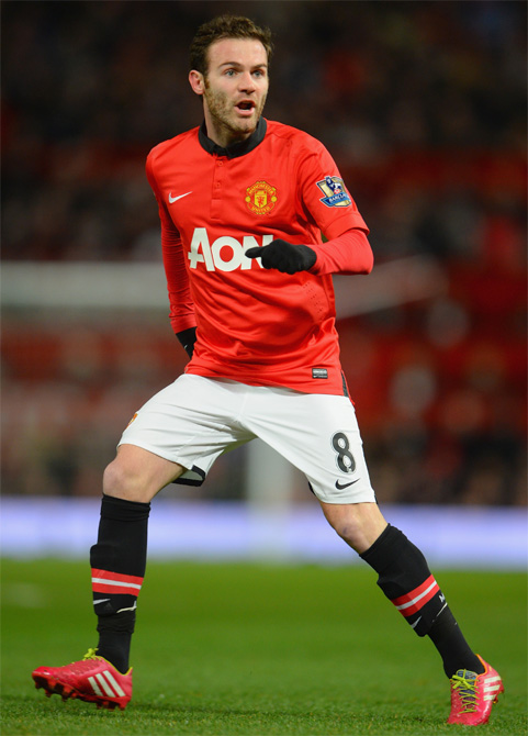 New signing Juan Mata of Manchester United in action
