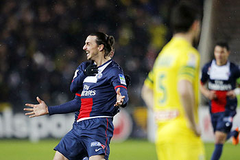 Paris Saint-Germain's Zlatan Ibrahimovic celebrates after scoring against FC Nantes during their French League Cup semi-final at the Beaujoire stadium in Nantes on Tuesday