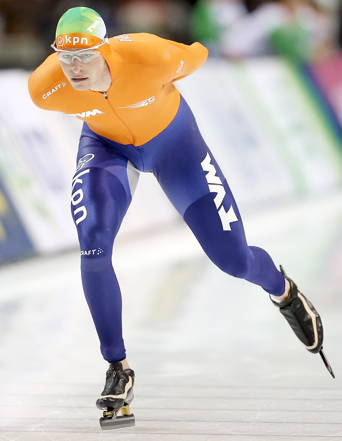 Sven Kramer of the Netherlands skates