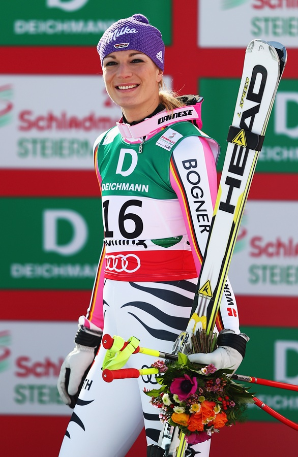 Maria Hoefl-Riesch of Germany celebrates