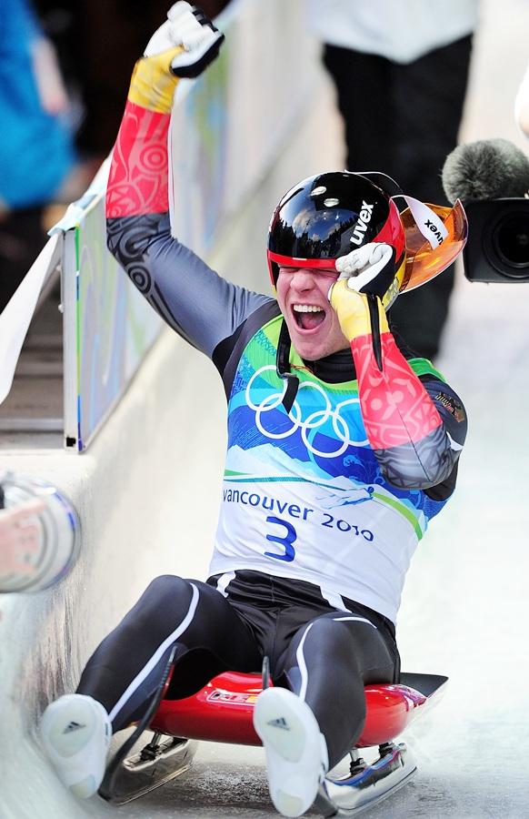 Felix Loch of Germany celebrates