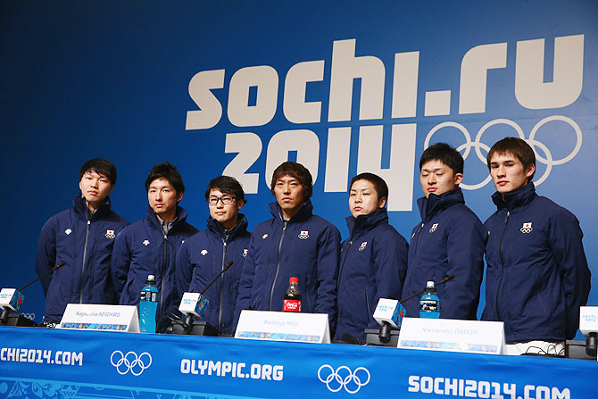 Japan Speed Skating team members Taro Kondo, Yuya Oikawa, Joji Kato, Keiichiro Nagashima, Yuji Kamijo, Daichi Yamanaka and Shane Williamson attend a press conference