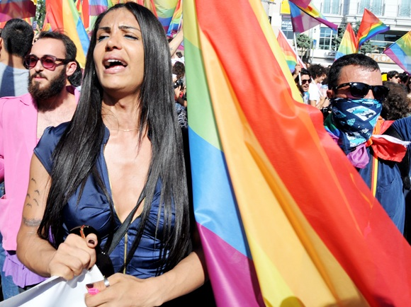 Gay and human rights activists chant slogans