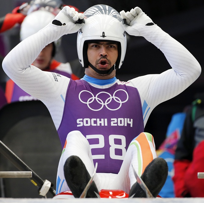 Independent Olympic Participant Shiva Keshavan gets prepared during a men's luge training session ahead of the Sochi 2014 Winter Olympics