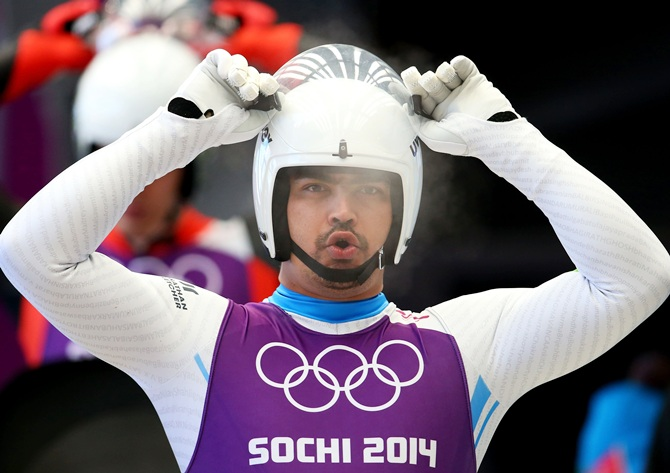 Independent Olympic Participant Shiva Keshavan gets prepared during a men's luge training session