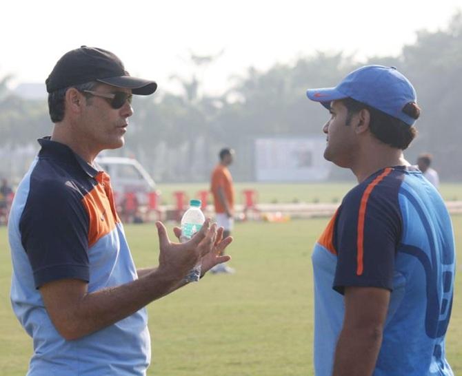 Scott O'Donnell with AIFF's Navi Mumbai Regional Academy Head Coach Sajid Dar.
