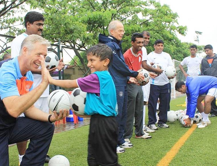 Indian football coach Wim Koevermans, left.