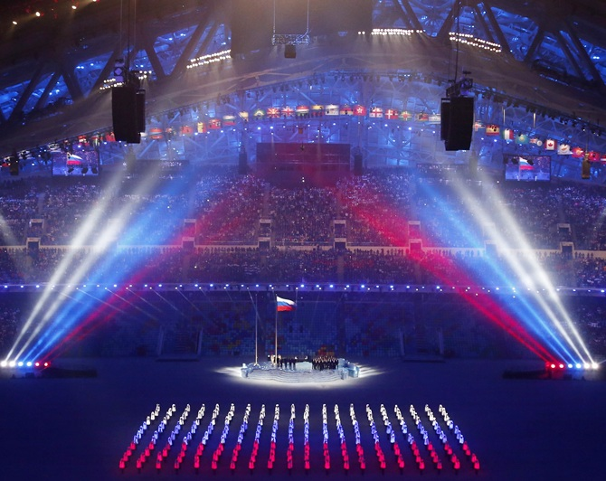 The Russian flag is being raised during the opening ceremony.