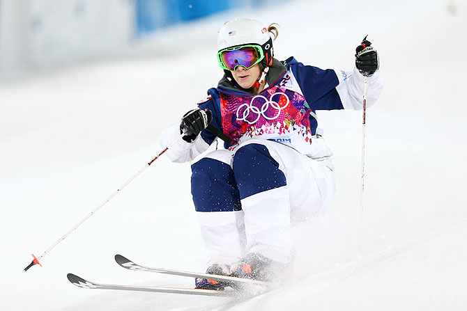 Hannah Kearney of the United States competes in the Ladies' Moguls Final on Saturday