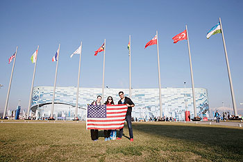A general view of Americans holding a flag in the Olymnpic Park in Sochi