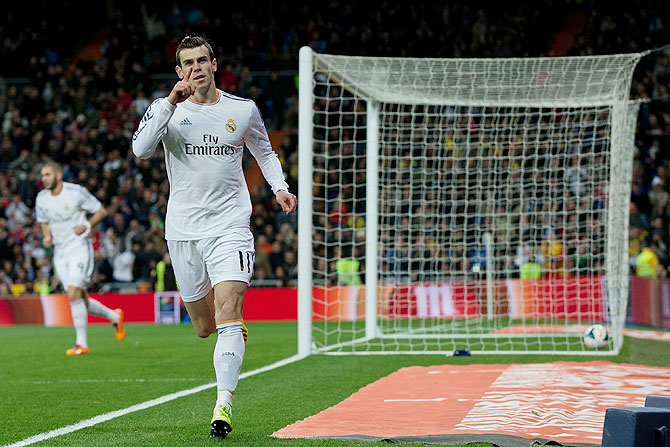 Gareth Bale of Real Madrid celebrates scoring the opening goal on Saturday