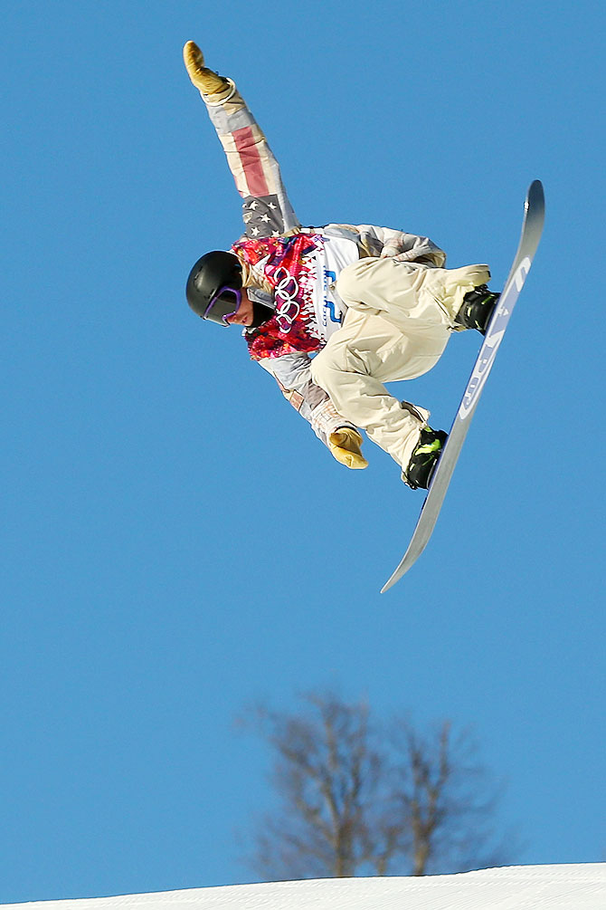 Sage Kotsenburg of the United States competes during the Snowboard Men's Slopestyle Semifinals on Day 1 of the Sochi 2014 Winter Olympics at Rosa Khutor Extreme Park in Sochi on Saturday