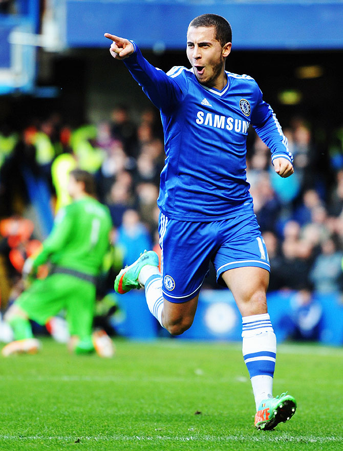 Eden Hazard of Chelsea celebrates after scoring against Newcastle United at Stamford Bridge on Saturday.