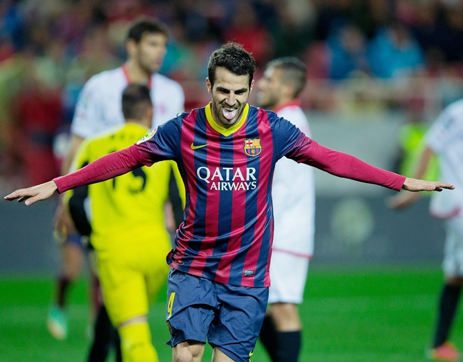 Cesc Fabregas of FC Barcelona celebrates.