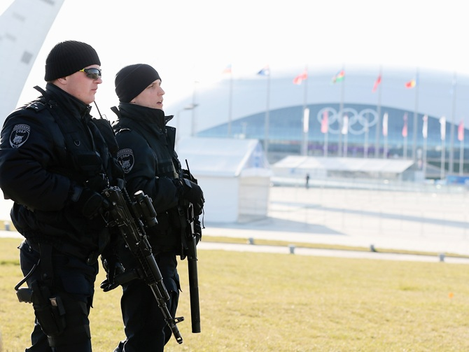 Security forces patrol the Olympic Park.