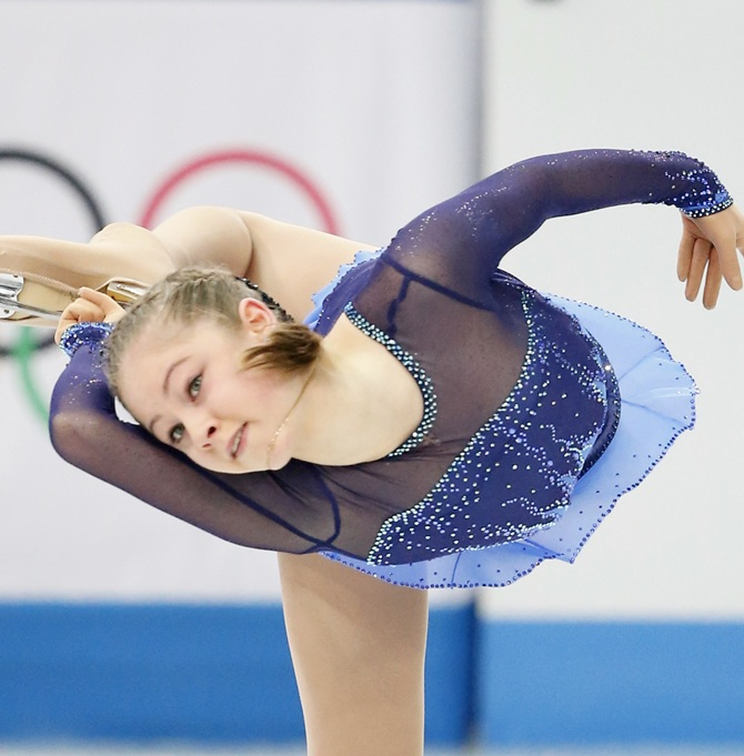 Julia Lipnitskaya of Russia competes in the Team Ladies Free Skating.