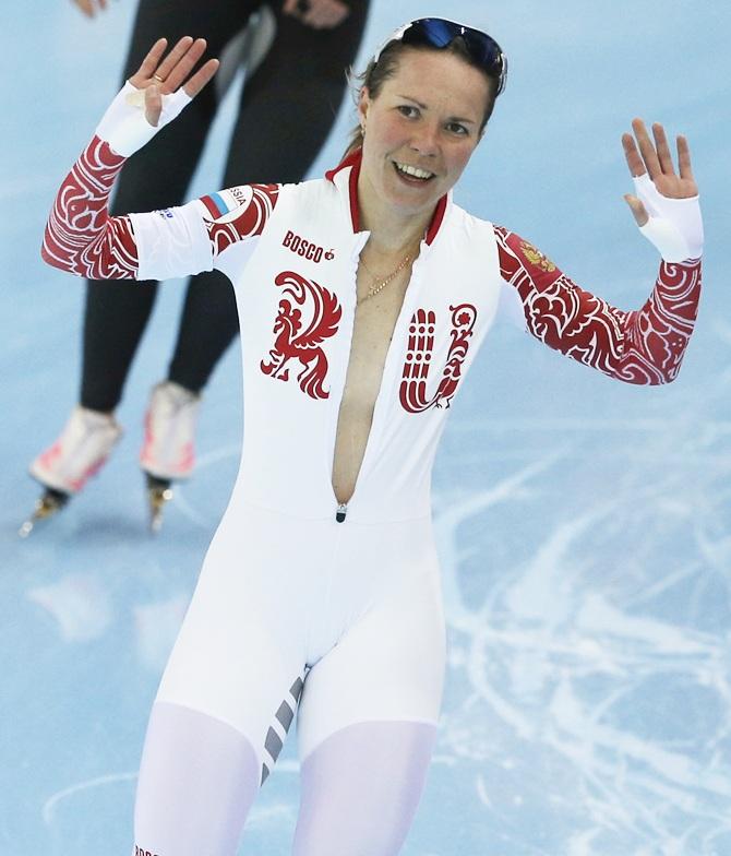 Russia's Olga Graf skates during the women's 3,000 metres speed skating race