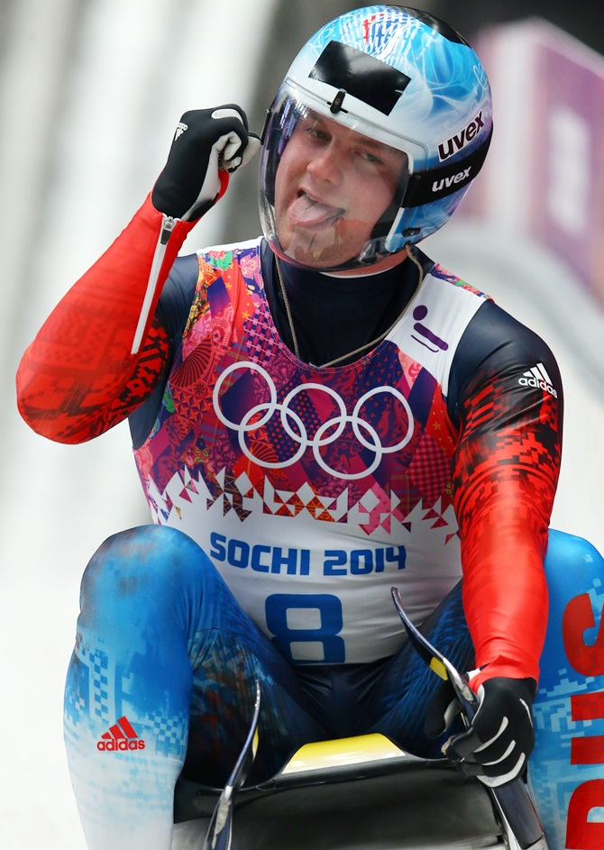 Semen Pavlichenko of Russia competes during the Men's Luge Singles.