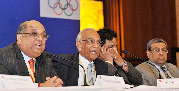 N Ramachandran, V D Nanavati, Rajeev Mehta and Anil Khanna during the press conference after the Indian Olympic Association election in New Delhi on Sunday