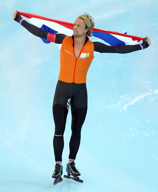 Gold medalist Michel Mulder of the Netherlands.