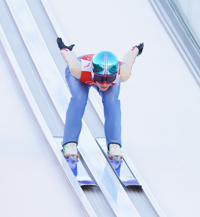 Evelyn Insam of Italy jumps during the Ladies' Normal Hill Individual Ski Jumping.