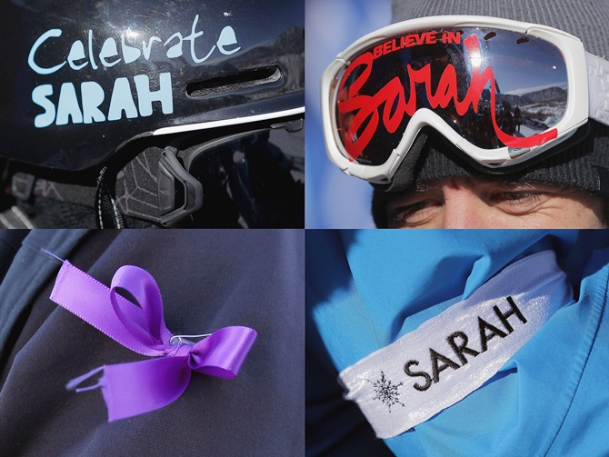 This composite image shows a number of ways competitors adorned themselves with items in rememberance of Canadian skier Sarah Burke