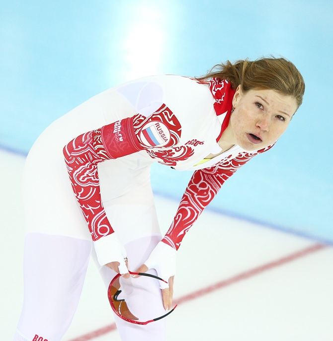 Olga Fatkulina of Russia reacts after competing during the Women's 500m Race 1 of 2 Speed Skating event.
