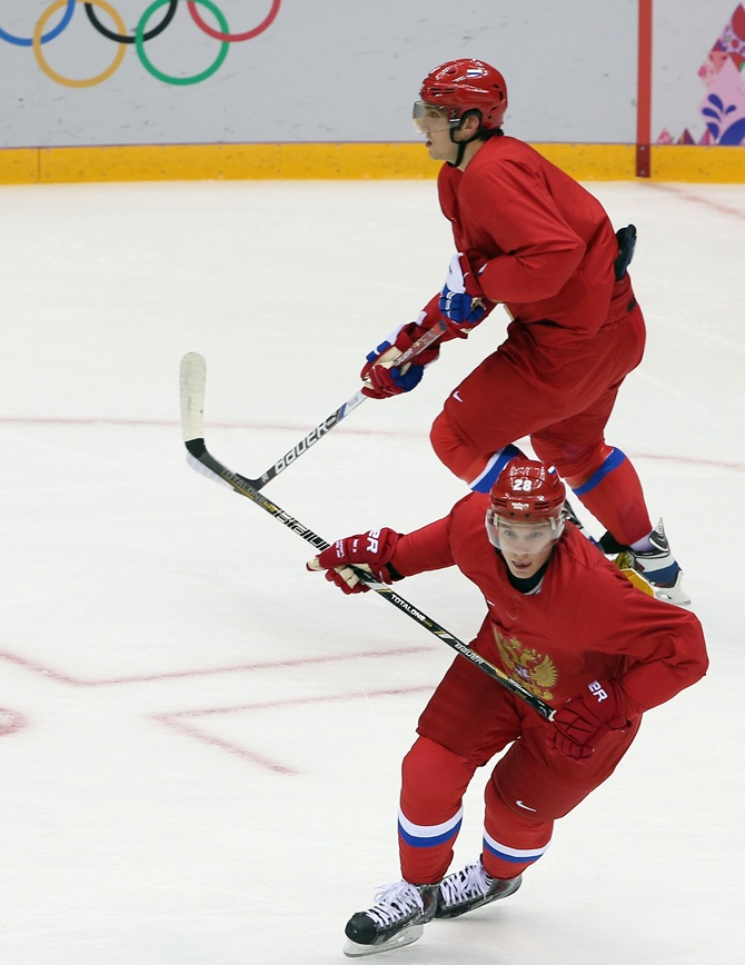 Alexander Semin and Alex Overchkin of the Russian Federation.