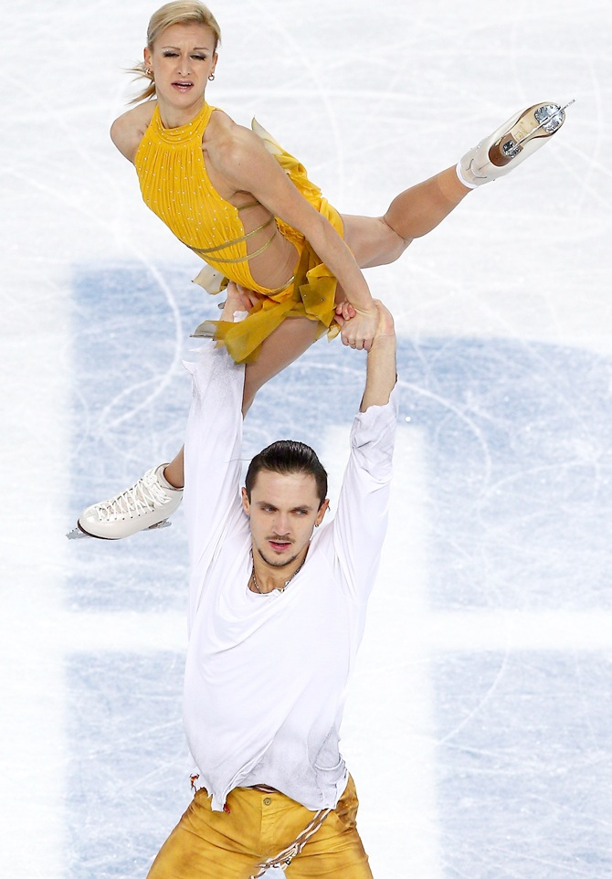 Tatiana Volosozhar and Maxim Trankov of Russia compete in the Figure Skating Pairs.