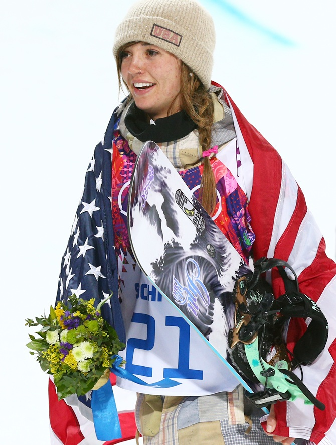 Gold medalist Kaitlyn Farrington of the United States celebrates.