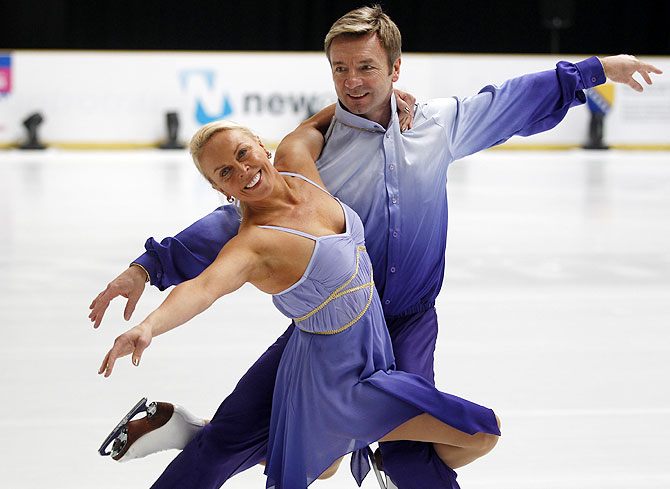 British ice skating pair Torvill and Dean, perform during a rehearsal in Sarajevo on Thursday.  Ice dancers Jayne Torvill and Christopher Dean made an emotional return on Thursday to the venue of their gold medal-winning performance at the 19