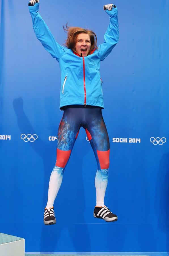 Bronze medalist Elena Nikitina of Russia celebrates.
