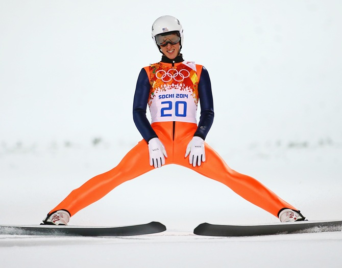 Nicholas Fairall of the United States lands after a jump.