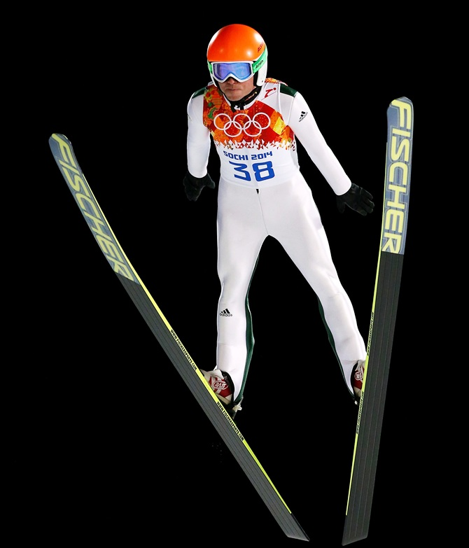 Jernej Damjan of Slovenia jumps during the Men's Normal Hill Individual.