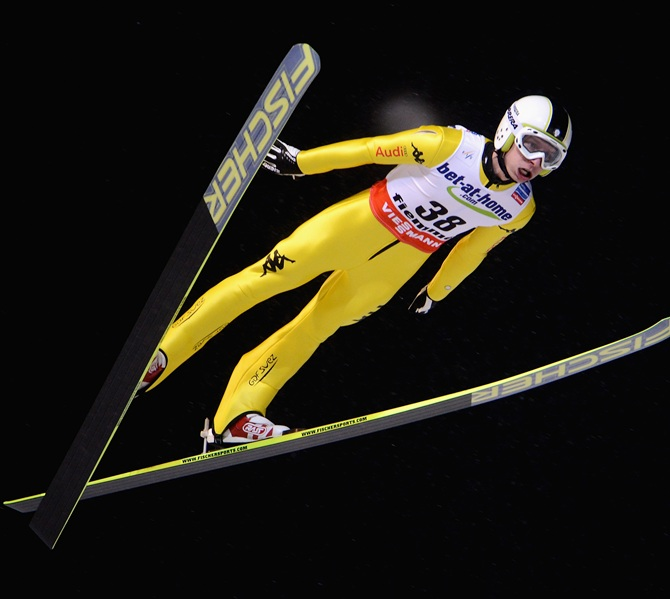Sebastian Colloredo of Italy in action during the Men's Ski Jumping HS106 Qualification.